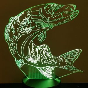 Lampe 3d led illusion Brochet KissKissMetal