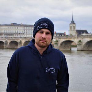 Sweat Humour de pêcheur zippé bleu navy Collection 2020